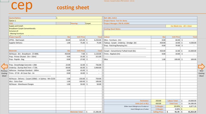 Costing sheet Excel Database workbook