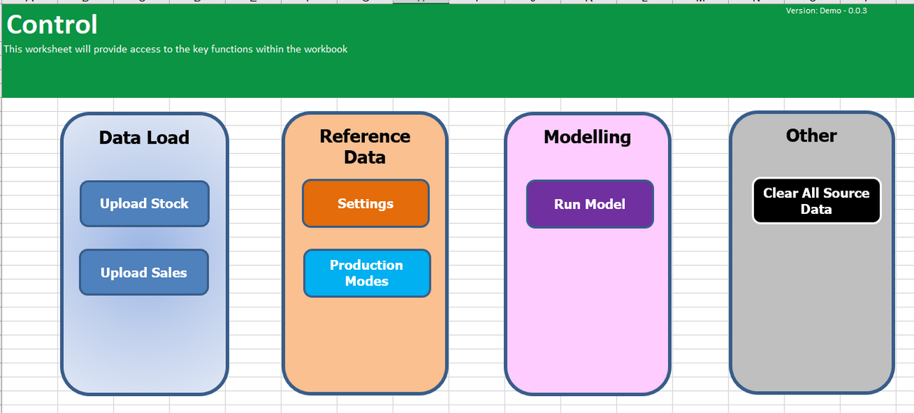 Excel Modelling Control