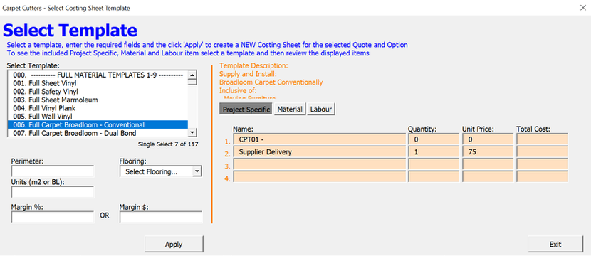 Job Costing Select Template
