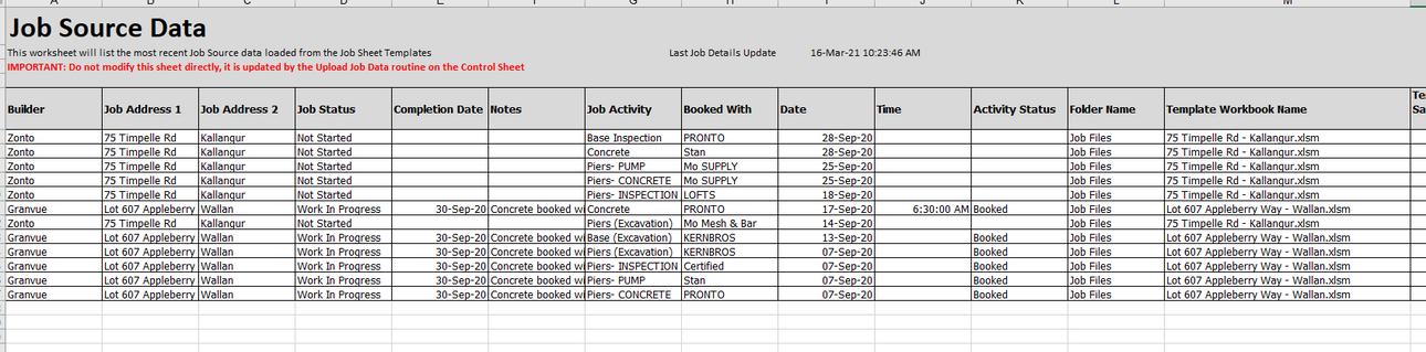 Job Booking Source Data