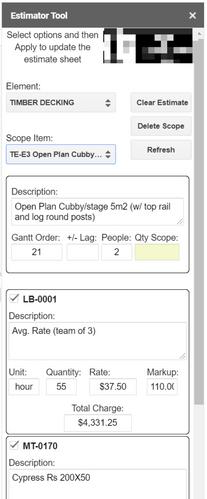 Job Costing Google Estimate Sheet Sidebar