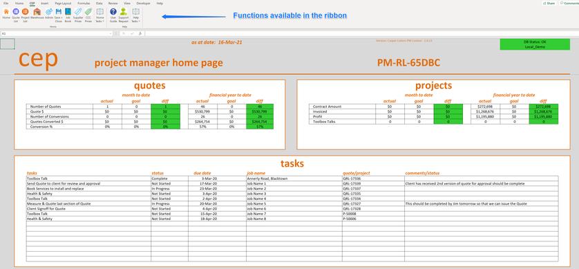 Main menu of Excel database