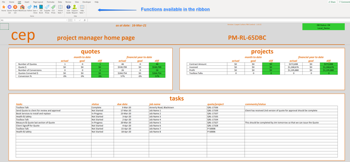 Main menu of Excel database
