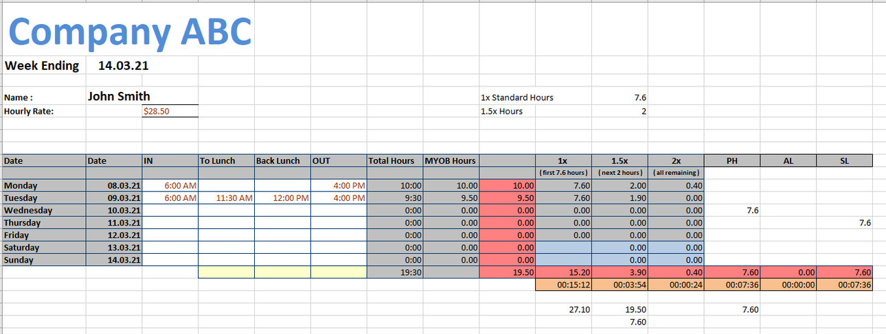 Timesheet Template Example