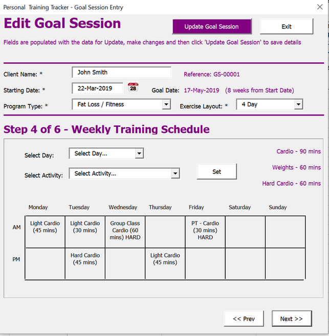Personal Training Schedule