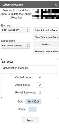 Estimate Google Sheet Labour Allocation Form