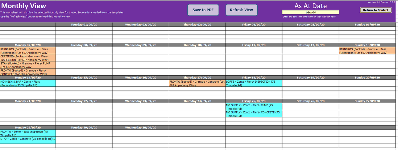 Job Scheduling Monthly View
