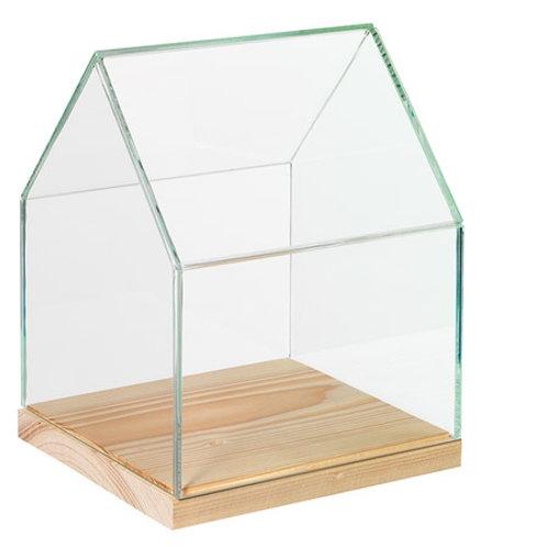 glazen huisje hout opbergen doosje kistje display glas huis plank sieraden