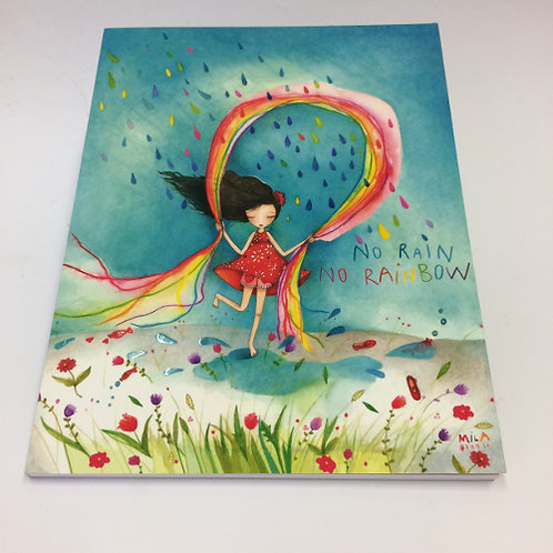 """A5 formaat schrift """"No Rain No Rainbow"""" . 96 pagina's gelinieerd 17x22cm regenboog"""