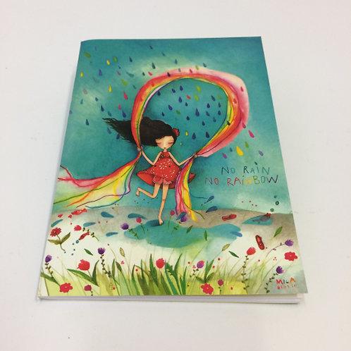 """Mini schrift """"No rain no rainbow"""". Met 24 blz. gelinieerd . 10,5x15cm"""