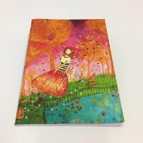 """Mini schrift """"Autumn Leaves"""". Met 24 blz. gelinieerd . 10,5x15cm oranje groen"""