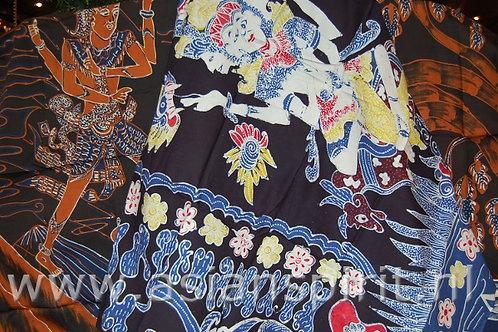 katoen katoenen tafelkleed kleed tafel batik doek batikdoek danser india henna bloemen patroon geel blauw donkerblauw