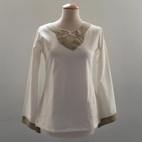 shirt met veter wit beige katoen