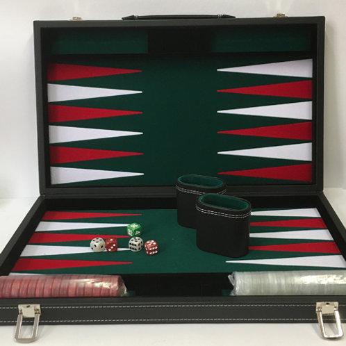 Backgammon Koffer luxe met parelmoer gekleurde stenen
