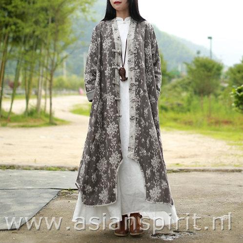 Chinese Dames jas grijs wit jas lang