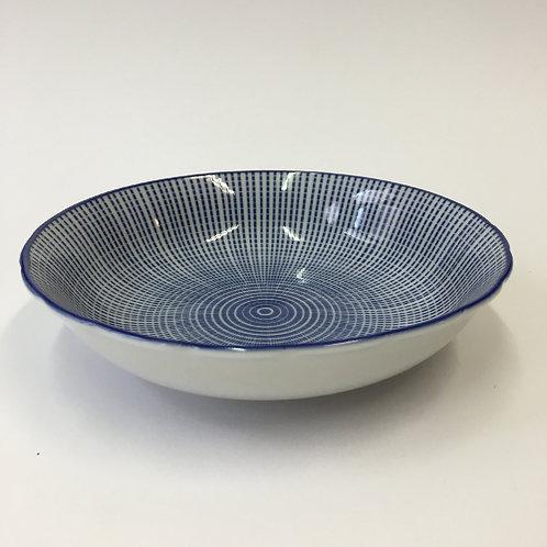 Ontbijtbordje blauw/wit 16x4cm
