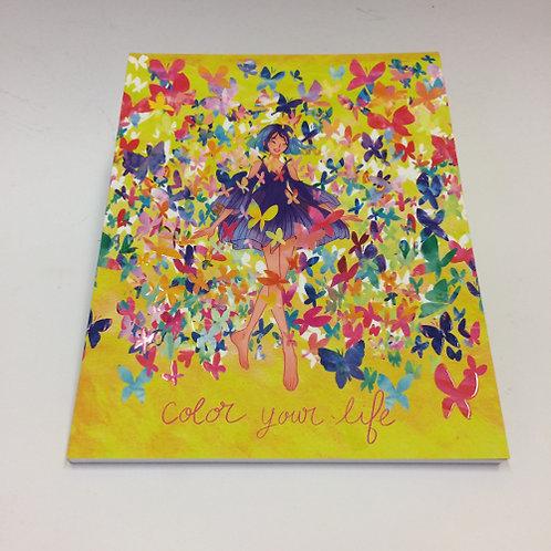 """A5 formaat schrift """"color your life"""" . 96 pagina's gelinieerd 17x22cm"""