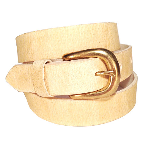 Natural Beige Leather Belt | F001