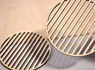Laser cut plywood coasters