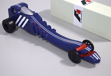 F1 in schools drag-style car produced on a Boxford CNC router