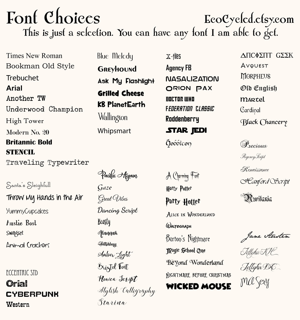 Font Choices for EcoCycled