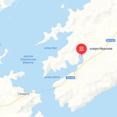 Озеро Нурское на карте