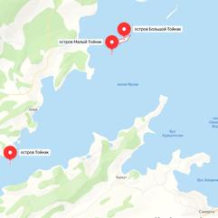 Острова Тойнак, Большой Тойнак и Малый Тойнак на карте