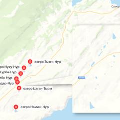 Солёные озера на карте