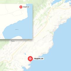Пещеры бухты Ая на карте