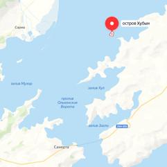 Остров Хубын на карте