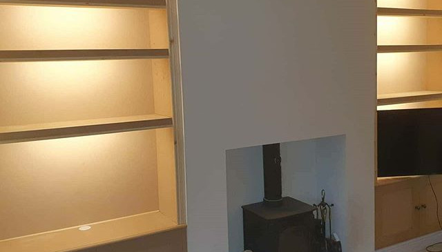 bespoke alcove units with led lighting