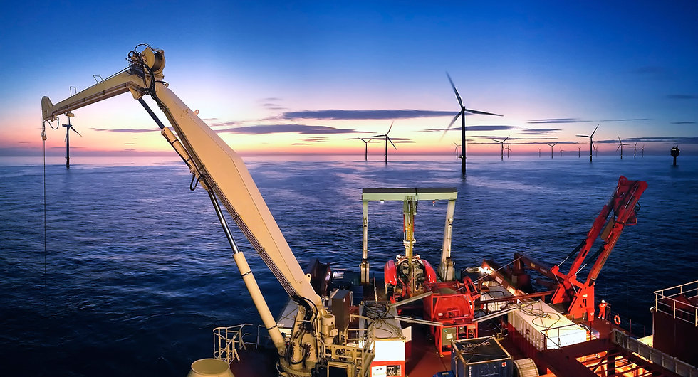 subsea cable installation at offshore windfarm
