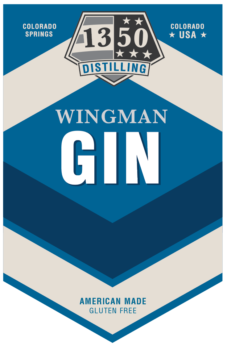 "Wingman Gin ""Stripes"" design for 1350 Distilling"