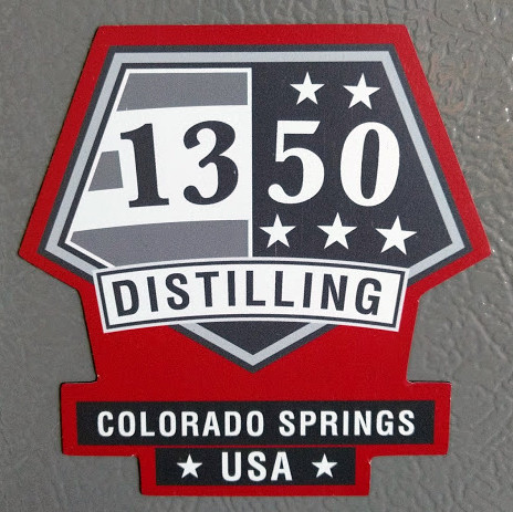 1350 Distilling custom-cut magnet by Sticker Mule