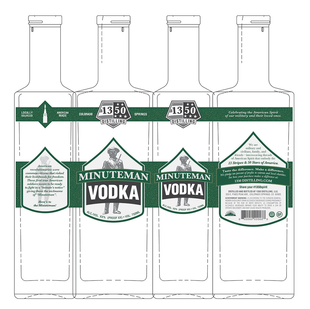 """Two-tiered, full-wrapped labels around a proud rectangular 11.5"""" tall bottle."""
