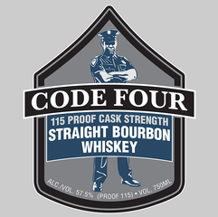 CODE FOUR 115 PROOF CASK STRENGTH STRAIGHT BOURBON WHISKEY