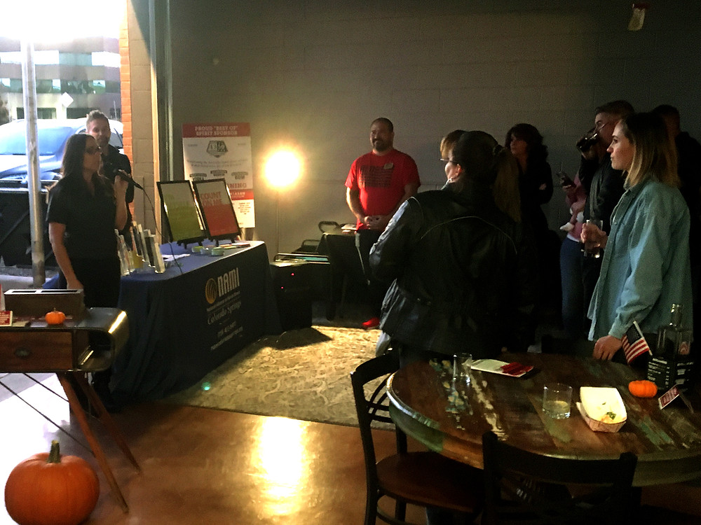 Owner, Abbie Weien speaks to 1350 Distilling guests at Charity Night, Nov 8th, 2019