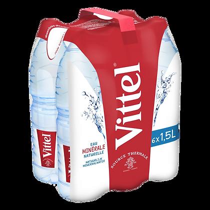 Pack de 6 bouteilles d'eau minérale naturelle VITTEL 1,5L | CARREFOUR