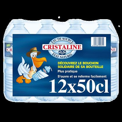 Pack de 12 bouteille d'eau de source état naturel CRISTALINE 50cl | CARREFOUR