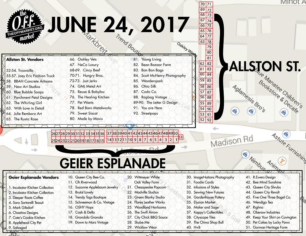 The OFF Market Vendor Map June