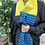 mustard yellow and blue scarf, striped colourful scarf, bright and vibrant lambswool scarf, colour pop scarf
