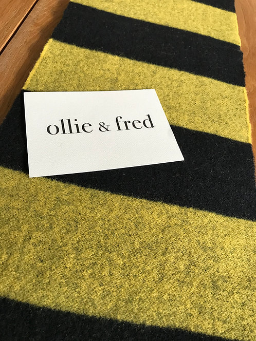 ollie and fred,black and yellow striped scarf,bee stripe scarf,gift ideas for boyfriend,gift ideas for husband,gift ideas