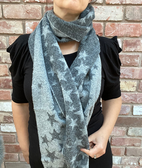 ollie and fred,christmas gift ideas for people who love stars,grey star scarf,lambswool grey star scarf