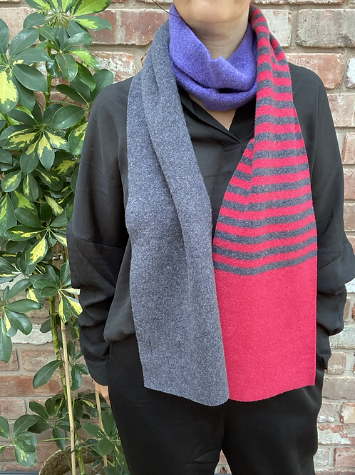 pink and purple striped scarf, hot pink and purple scarf, sustainable fashion gifts,block print colour clash scarf,