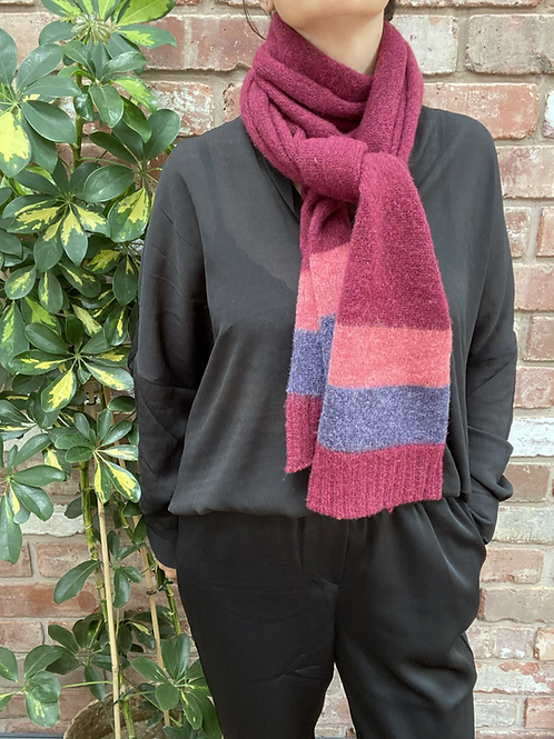 sustainable gift ideas, maroon scarf with pink and purple stripes,gift ideas for mums, gift ideas for grandmas