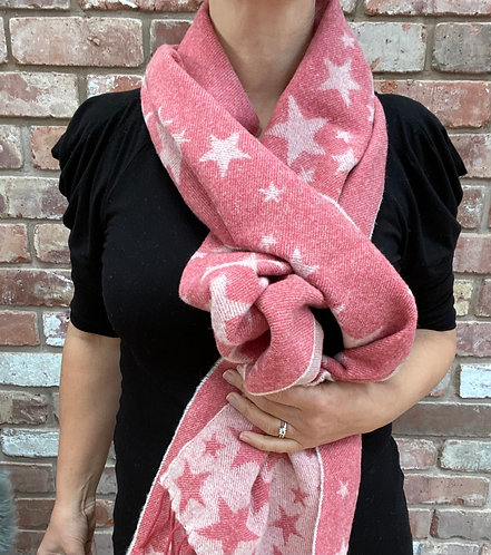 ollie and fred,luxury star scarf,lambswool star scarf,christmas gift ideas for people who love pink