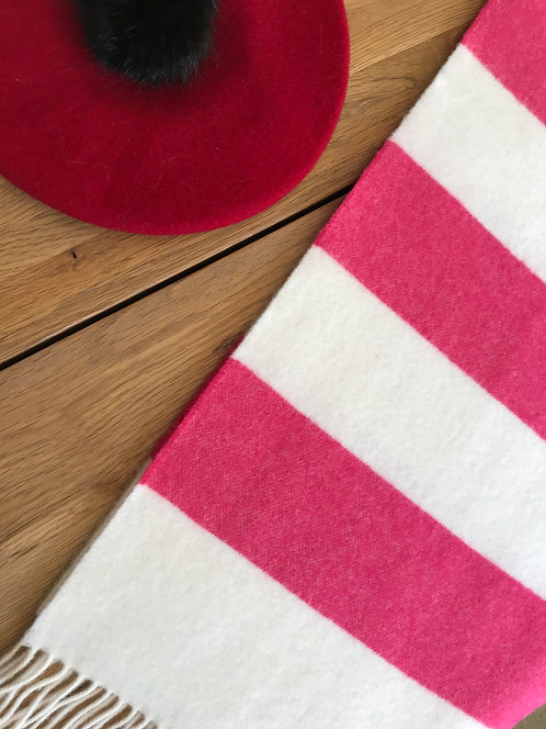ollie and fred,hot pink striped scarf,winter scarf pink,pink winter scarf,candy cane scarf,gift ideas for mother's day,