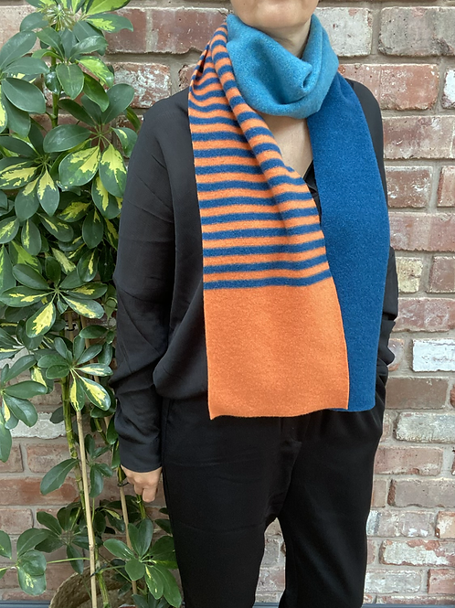 blue and orange striped scarf, sustainable fashion gifts, sustainable slow fashion gift ideas,ethical gift ideas