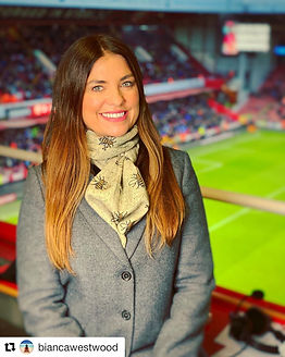 Bianca Westwood wears ollie and fred on Sky Sports
