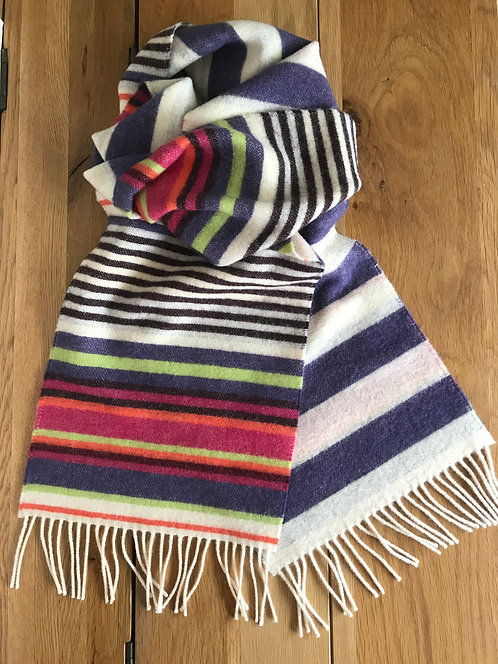 Striped multi-coloured scarf,ollie and fred,rainbow winter scarf,mother's day gift ideas,luxury scarves for women
